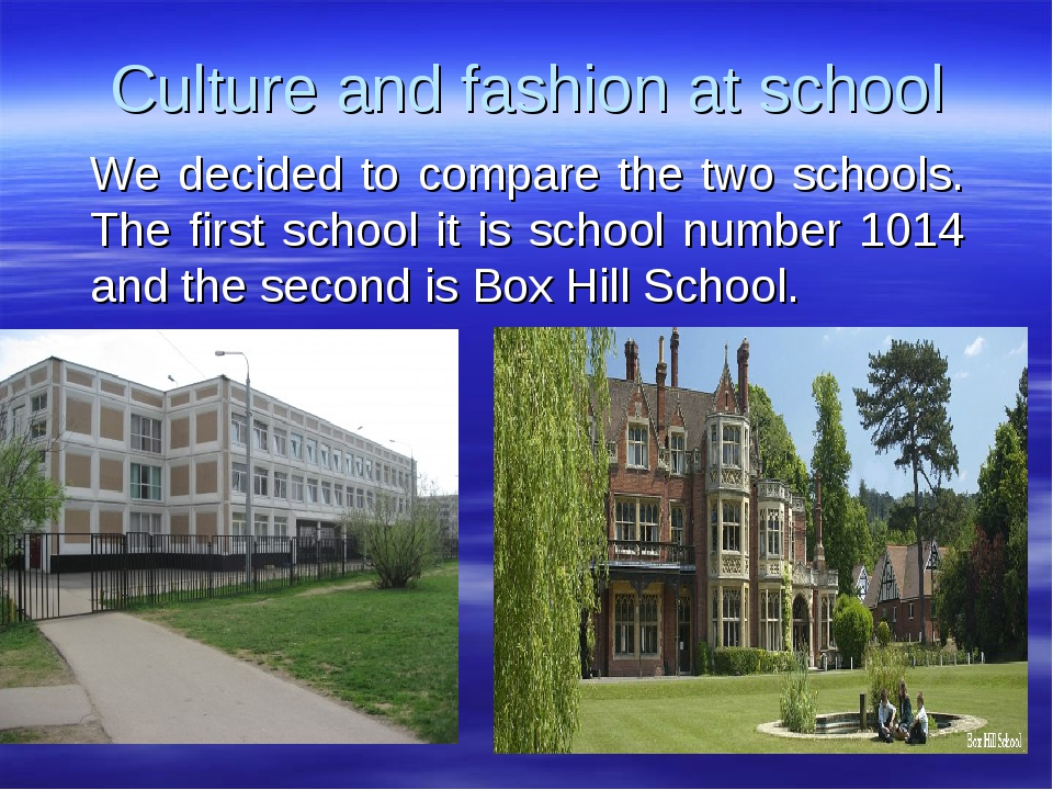 Culture and fashion at school We decided to compare the two schools. The firs...