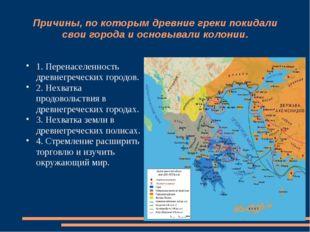 Причины, по которым древние греки покидали свои города и основывали колонии.
