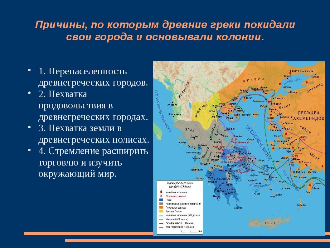 Причины, по которым древние греки покидали свои города и основывали колонии....