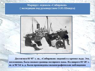 Достигнув 81°07' с. ш., «Сибиряков» подошёл к кромке льда. Это, несомненно,