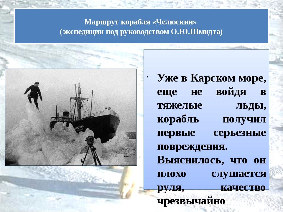 Уже в Карском море, еще не войдя в тяжелые льды, корабль получил первые серь...