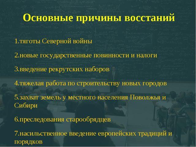 Основные причины восстаний 1.тяготы Северной войны 2.новые государственные по...