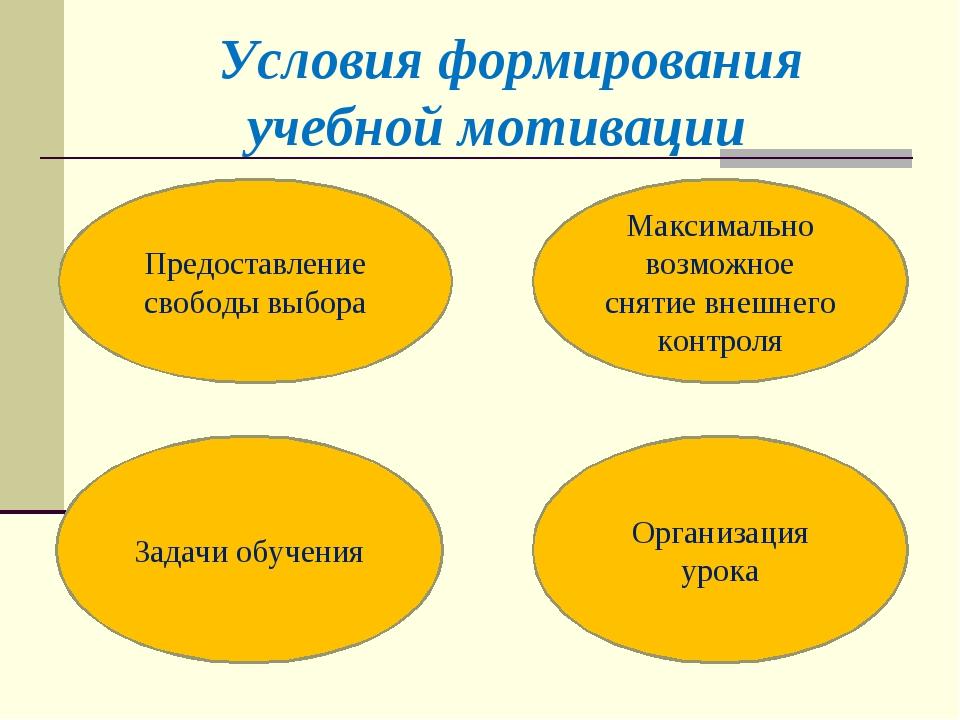 Условия формирования учебной мотивации Предоставление свободы выбора Максим...