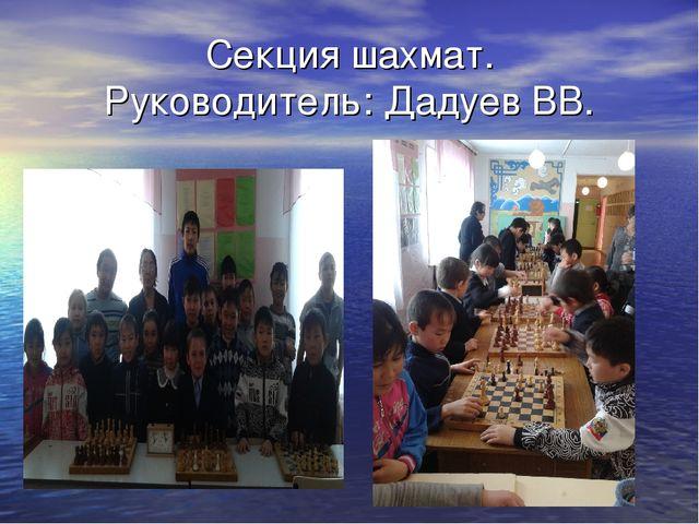 Секция шахмат. Руководитель: Дадуев ВВ.
