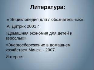 Литература: « Энциклопедия для любознательных» А. Дитрих 2001 г. «Домашняя э