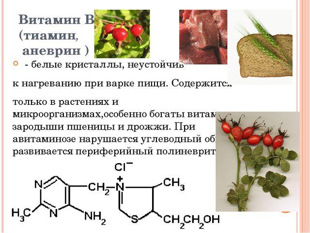 Витамин B1 (тиамин, аневрин ) - белые кристаллы, неустойчив к нагреванию при...