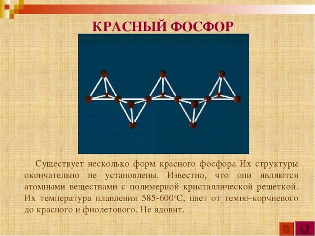 Существует несколько форм красного фосфора Их структуры окончательно не уста...