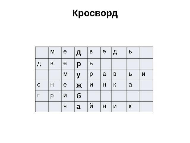 Кросворд м е д в е д ь д в е р ь м у р а в ь и с н е ж и н к а г р и б ч а й...