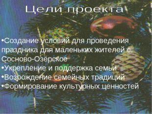 Создание условий для проведения праздника для маленьких жителей с. Сосново-Оз