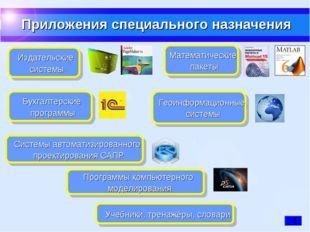 Приложения специального назначения Издательские системы Бухгалтерские програм