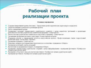 Рабочий план реализации проекта  Основные мероприятия  Создание инициативно