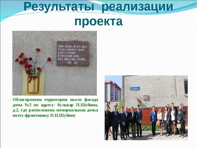 Результаты реализации проекта Облагорожена территория около фасада дома №2 по...