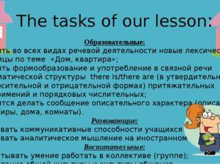 The tasks of our lesson: Образовательные: Освоить во всех видах речевой деяте