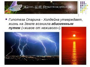 Гипотеза Опарина - Холдейна утверждает, жизнь на Земле возникла абиогенным пу