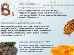 Пантотеновая кислота Авитаминоз и г ипервитаминоз витамина В5: Суточная потре