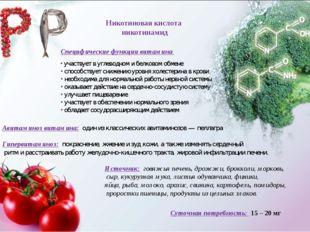 Никотиновая кислота никотинамид Специфические функции витамина участвует в уг