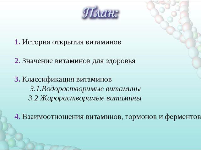 1. История открытия витаминов 2. Значение витаминов для здоровья 3. Классифи...