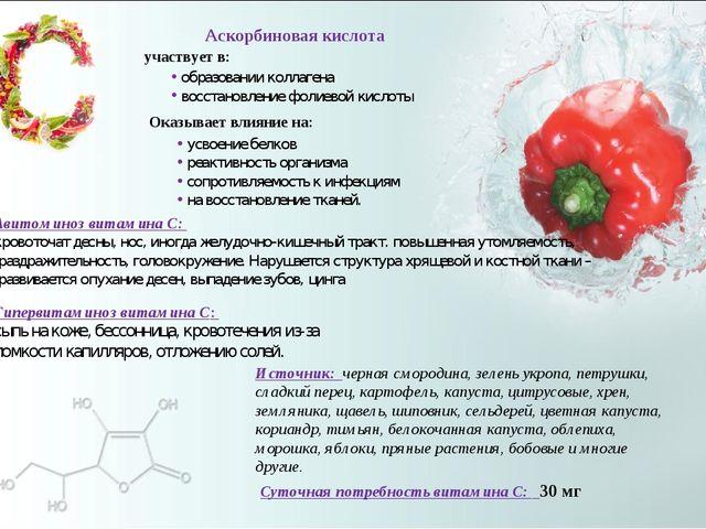 Суточная потребность витамина С: 30 мг Источник: черная смородина, зелень укр...