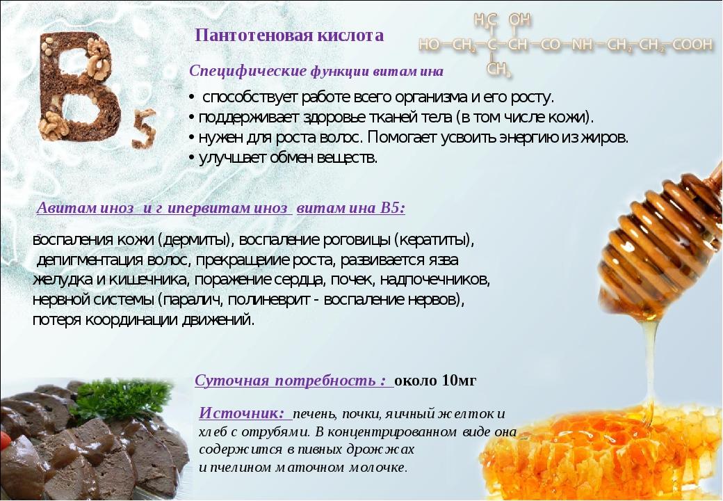 Пантотеновая кислота Авитаминоз и г ипервитаминоз витамина В5: Суточная потре...