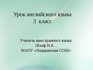 Урок английского языка 3 класс Учитель иностранного языка Шааф Н.Б. . МАОУ «