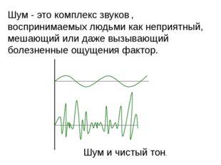 Шум - это комплекс звуков , воспринимаемых людьми как неприятный, мешающий ил