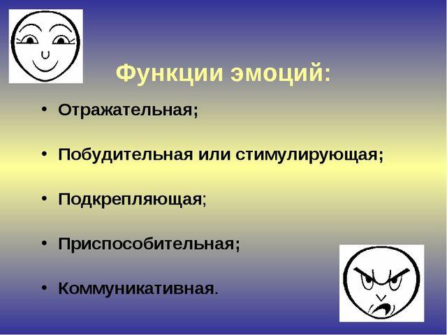 Функции эмоций: Отражательная; Побудительная или стимулирующая; Подкрепляюща...