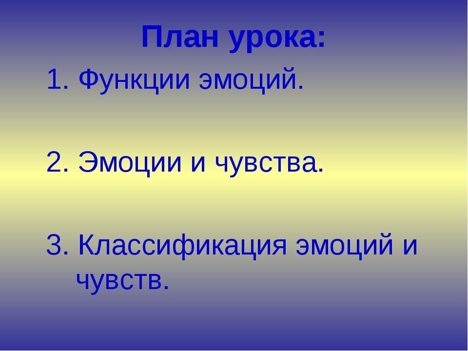 План урока: 1. Функции эмоций. 2. Эмоции и чувства. 3. Классификация эмоци...