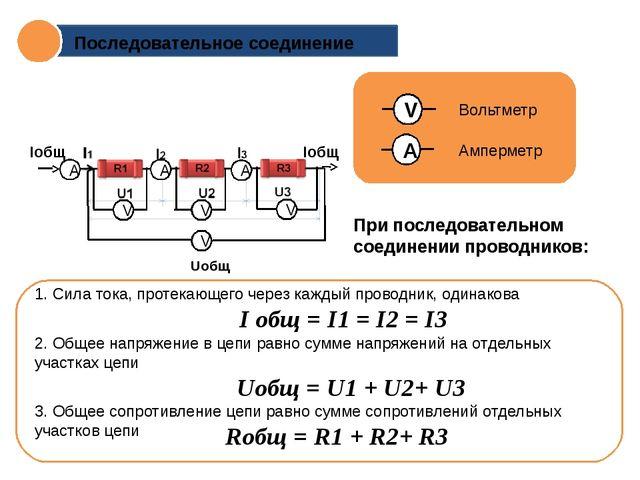 Uобщ Iобщ Последовательное соединение При последовательном соединении провод...