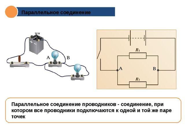 Параллельное соединение Параллельное соединение проводников - соединение, при...