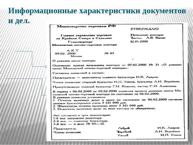 Информационные характеристики документов и дел.