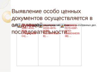 Выявление особо ценных документов осуществляется в следующей последовательно