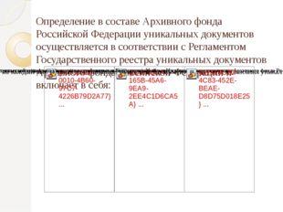 Определение в составе Архивного фонда Российской Федерации уникальных докуме