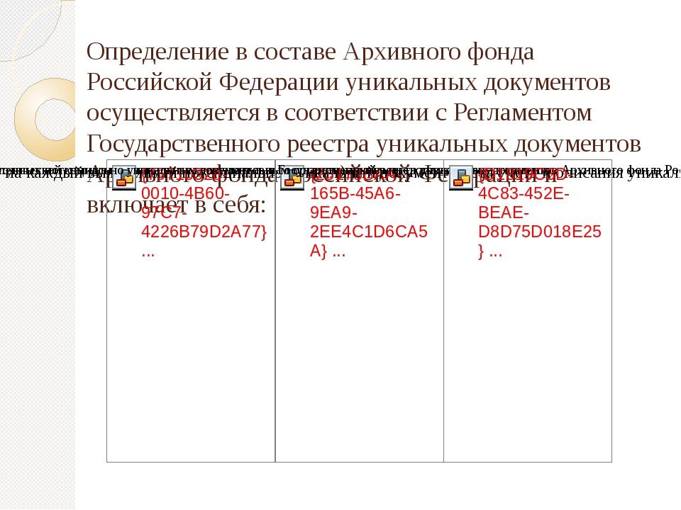 Определение в составе Архивного фонда Российской Федерации уникальных докуме...