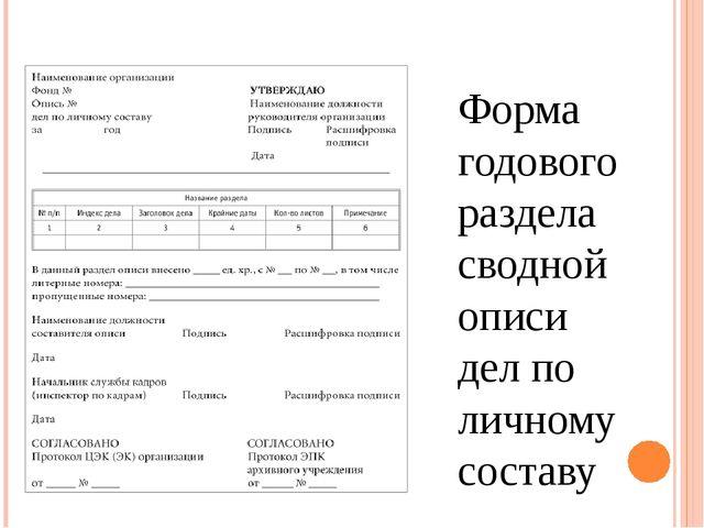 Форма годового раздела сводной описи дел по личному составу
