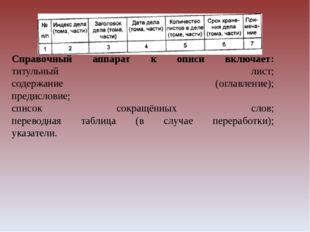 Справочный аппарат к описи включает: титульный лист; содержание (оглавление);