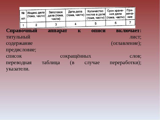 Справочный аппарат к описи включает: титульный лист; содержание (оглавление);...