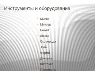 Инструменты и оборудование Миска Миксер Бокал Ложка Сковорода Нож Форма Духов