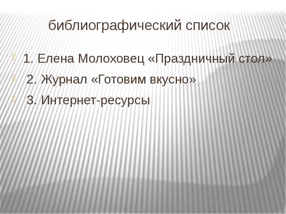 библиографический список 1. Елена Молоховец «Праздничный стол» 2. Журнал «Го...