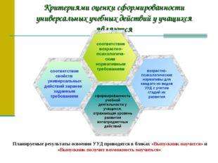 Критериями оценки сформированности универсальных учебных действий у учащихся
