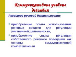 Коммуникативные учебные действия Развитие речевой деятельности: приобретение