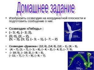 Изобразить созвездия на координатной плоскости и подготовить сообщение о них.
