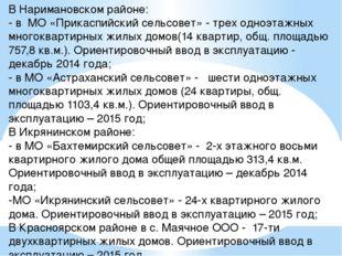 В Наримановском районе: - в МО «Прикаспийский сельсовет» - трех одноэтажных