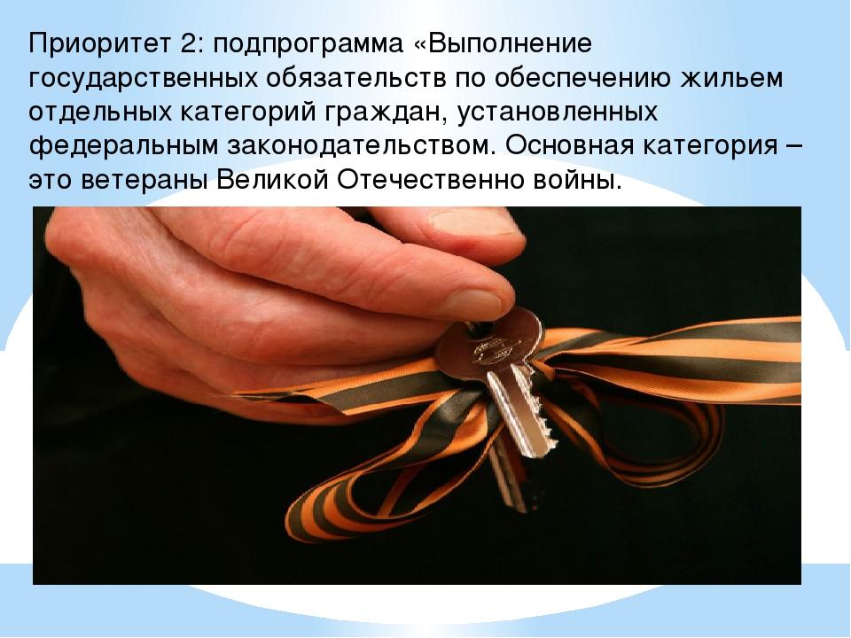 Приоритет 2: подпрограмма «Выполнение государственных обязательств по обеспеч...