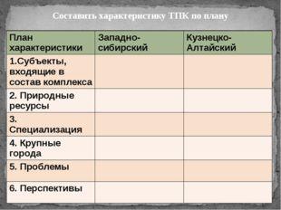 Составить характеристику ТПК по плану План характеристики Западно-сибирский