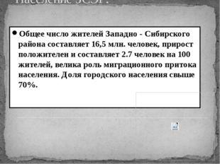 Население ЗСЭР: Общее число жителей Западно - Сибирского района составляет 16