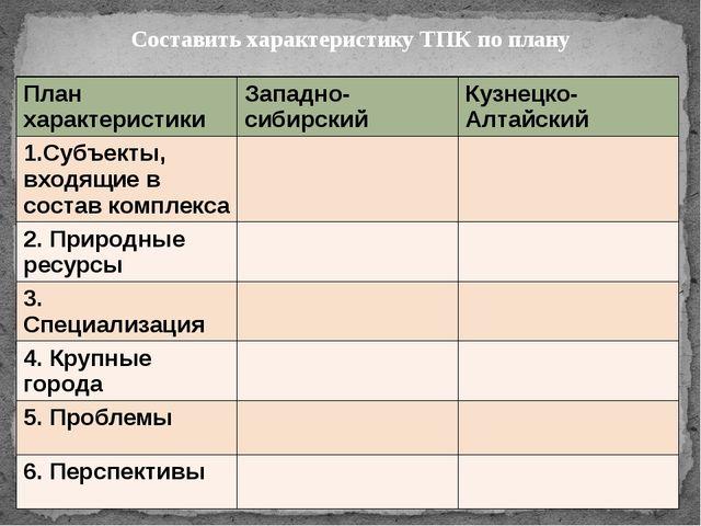 Составить характеристику ТПК по плану План характеристики Западно-сибирский...
