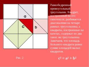 Рис. 2 Равнобедренный прямоугольный треугольник. Квадрат, построенный на его