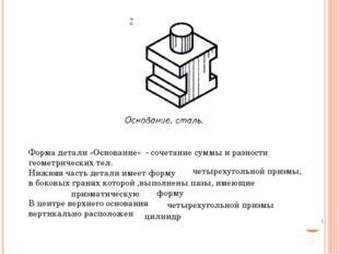 Форма детали «Основание» - сочетание суммы и разности геометрических тел. Ниж