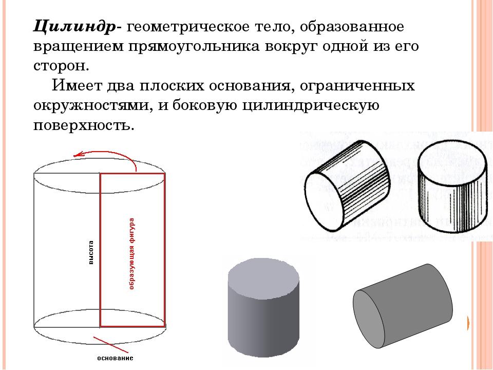 Цилиндр- геометрическое тело, образованное вращением прямоугольника вокруг од...
