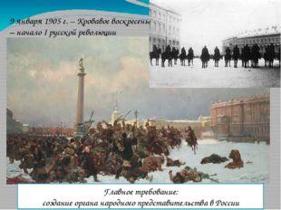 9 января 1905 г. – Кровавое воскресенье – начало I русской революции Главное